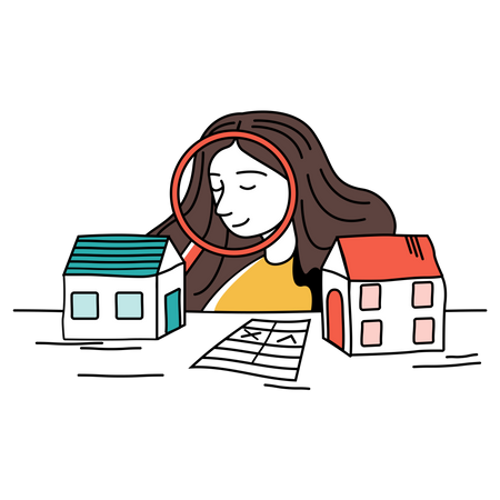 Woman searching house to buy Illustration