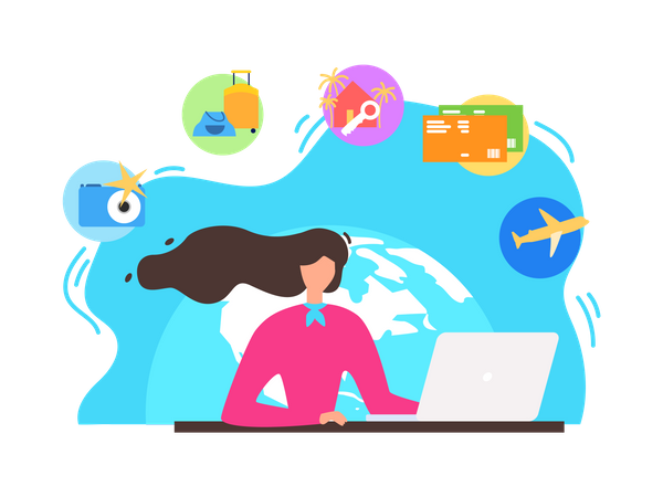 Woman Searching Leisure and Recreation Opportunities, Booking Tickets Online, Reserving Hotel Rooms in Internet Illustration