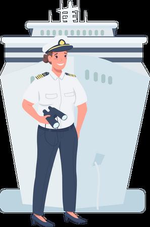 Woman ship captain Illustration