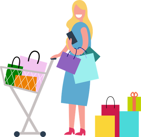 Woman Shopping and Spending Time Illustration