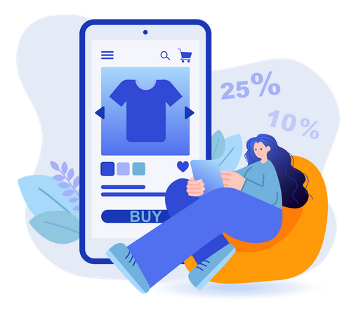 Woman Shopping Apparels From E-commerce App Illustration