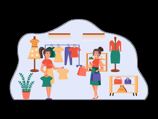 Woman shopping clothes at shop Illustration