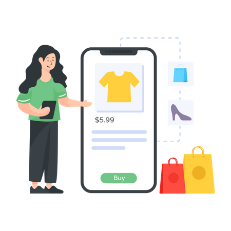 Woman shopping clothes online Illustration