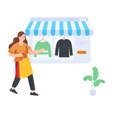 Woman shopping for clothes online Illustration