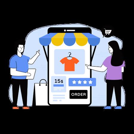 Woman shopping online using smartphone app Illustration