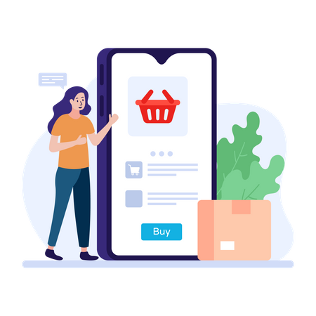 Woman shopping online using smartphone application Illustration