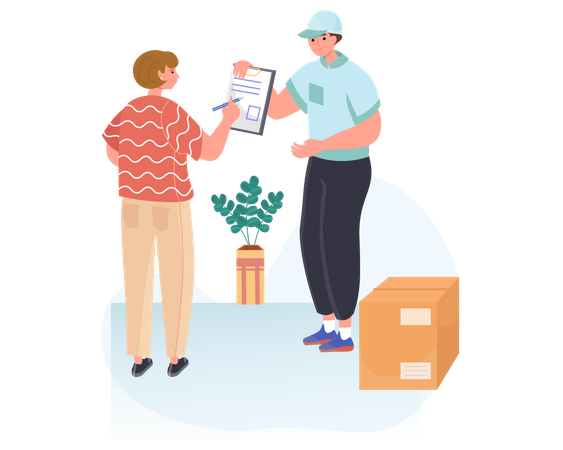 Woman signing document to receiving parcel box from delivery man Illustration