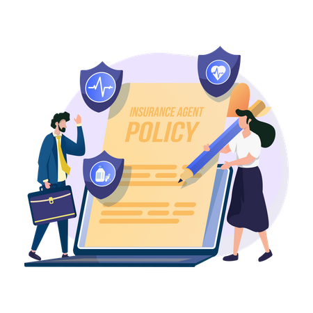 Woman signing insurance policy Illustration