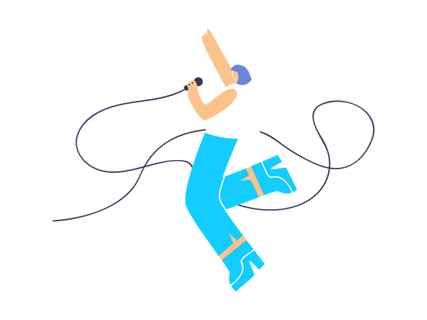 Woman Singer Singing and Dancing on the stage Illustration