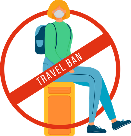 Woman sit on luggage in airport for Forbidden tourism Illustration