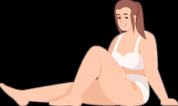 Woman sitting in swimsuit Illustration