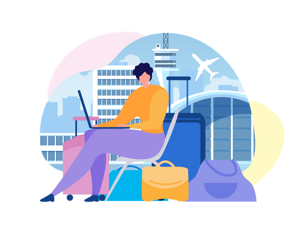 Woman Sitting near Baggage, Using Laptop, Searching Flights Timetable in Internet Illustration