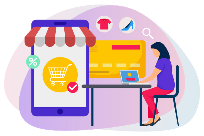 Woman sitting on chair adding items in cart and doing payment for online shopping Illustration