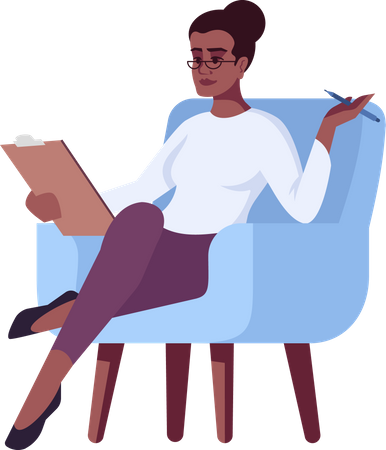 Woman sitting on chair writing notes Illustration