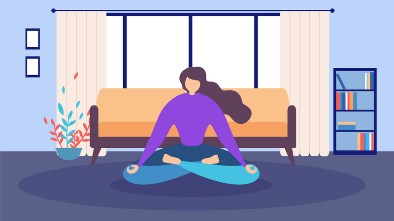 Woman Sitting on floor and Eyes Closed doing  Meditation at Home Illustration