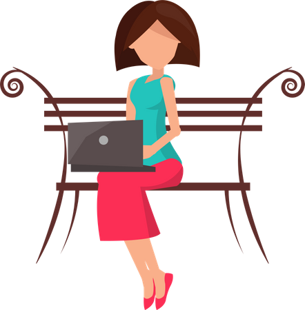 Woman sitting on the bench and working on a laptop Illustration