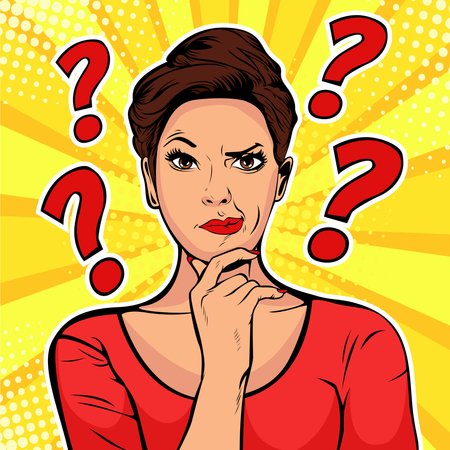 Woman skeptical facial expressions face with question marks upon hear head Illustration