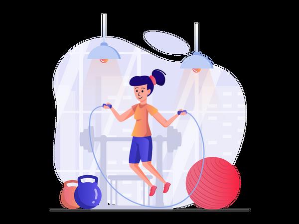 Woman skipping rope at gym Illustration