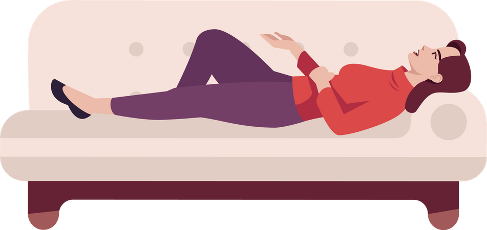 Woman sleeping on couch Illustration