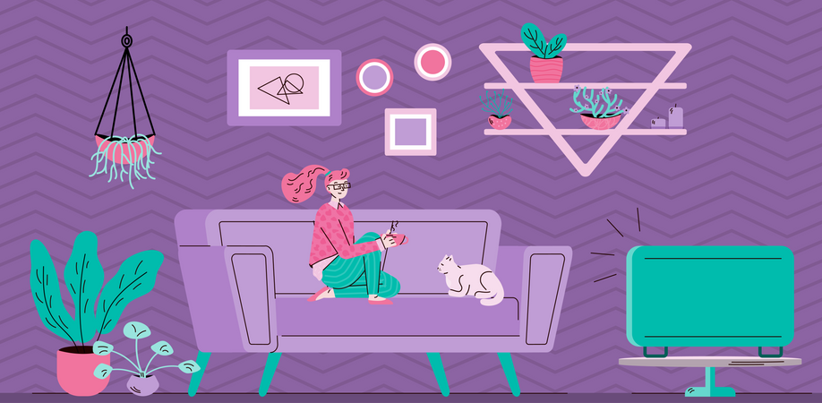 Woman spending leisure time watching TV at room background Illustration