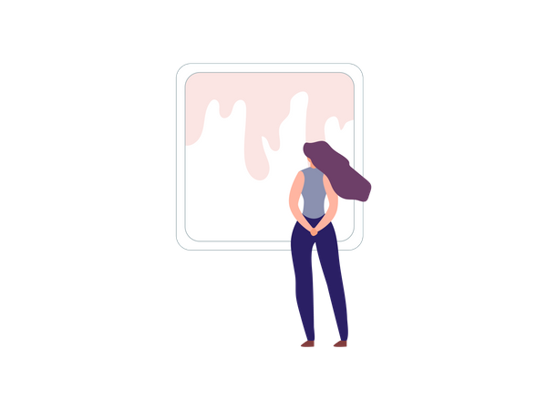 Woman standing in art gallery Illustration