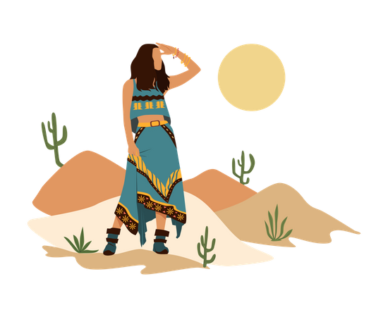 Woman standing in desert Illustration