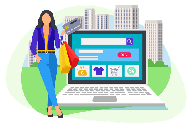 Woman standing near laptop and holding card in her hand for online payment Illustration