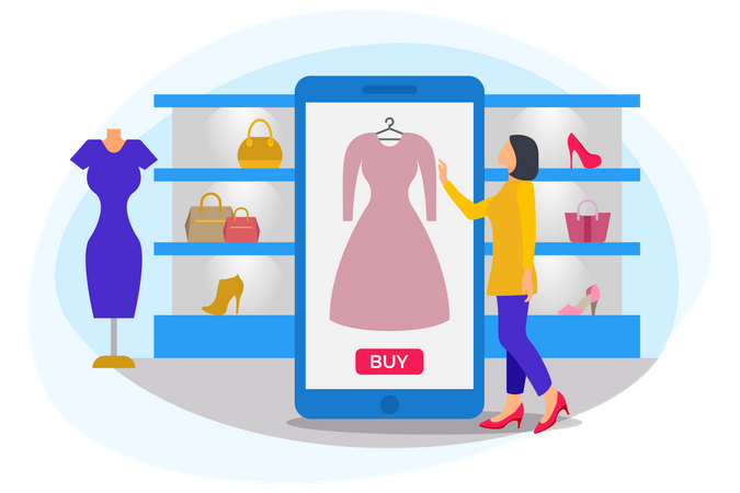 Woman standing near mobile buying clothes and dress up kit Illustration