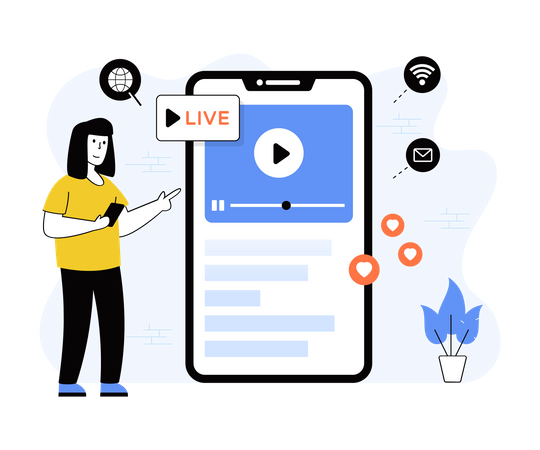 Woman streaming live video Illustration