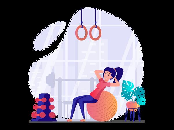 Woman stretching using gym ball Illustration