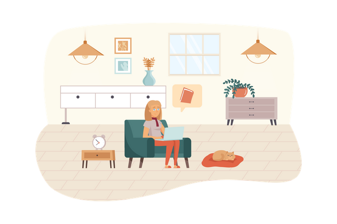 Woman studying using laptop or reads e-book sitting in living room Illustration