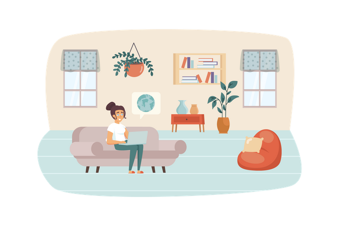 Woman studying using laptop sitting on couch in living room Illustration