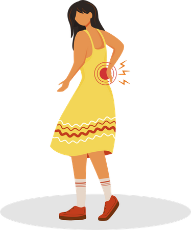 Woman suffering kidney problems Illustration