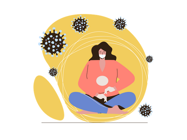 Woman surrounded by coronavirus Illustration