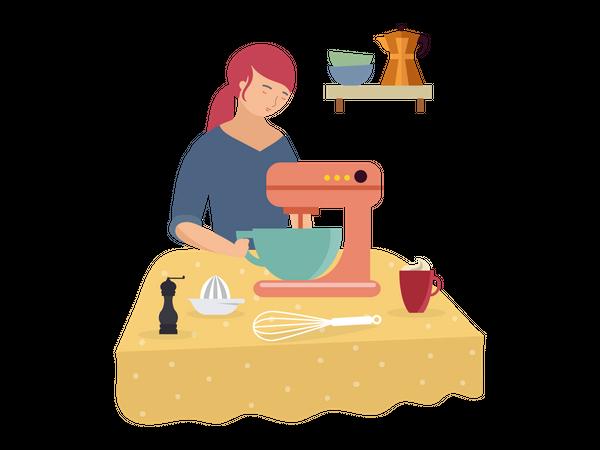 Woman tailoring on sewing machine Illustration