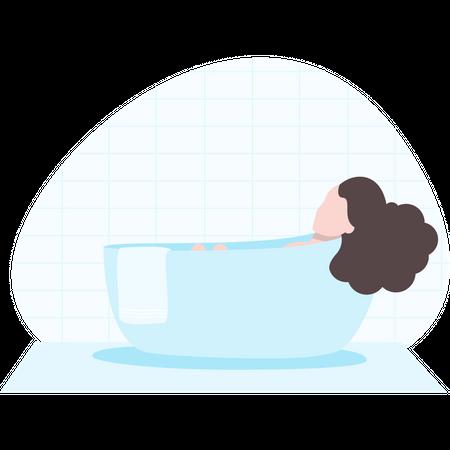 Woman taking a hot bath in bathtub Illustration
