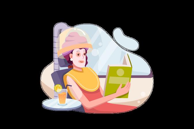 Woman taking hair spa Illustration