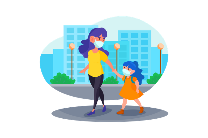 Woman taking her child to school Illustration