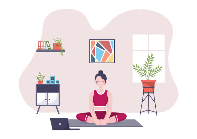 Woman taking Online Yoga and Meditation Lessons Illustration