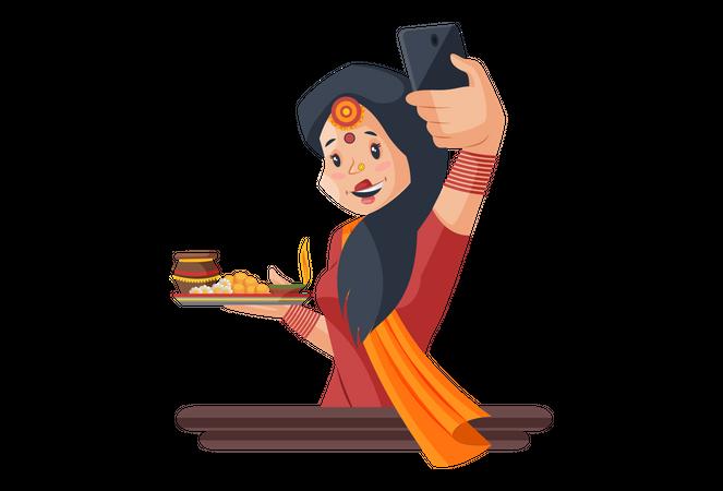 Woman taking selfie Illustration