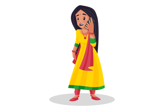 Woman talking on phone Illustration