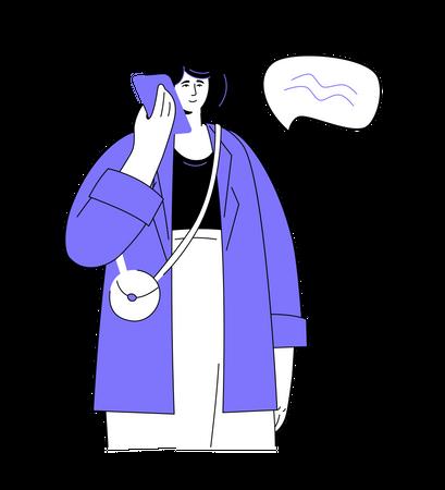 Woman talking on the phone Illustration