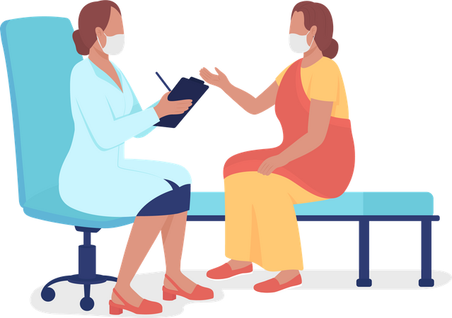 Woman talking to healthcare professional Illustration
