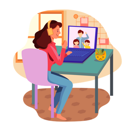 Woman talking with family on video call Illustration