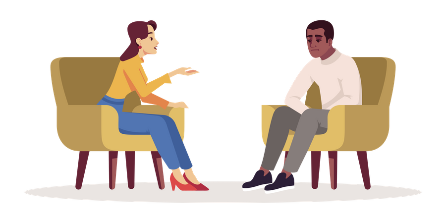 Woman talking with unhappy man Illustration