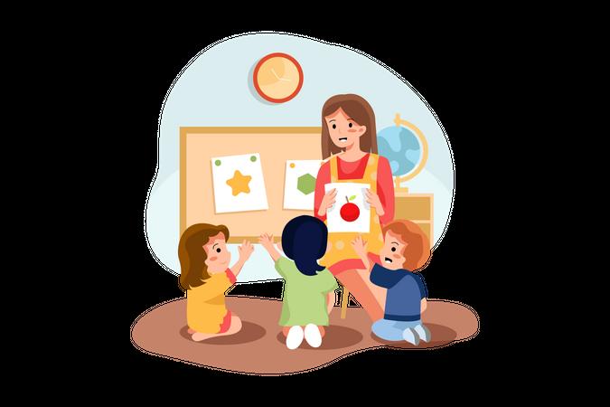 Woman teaching kids Illustration