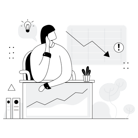 Woman thinking ideas for business crisis Illustration
