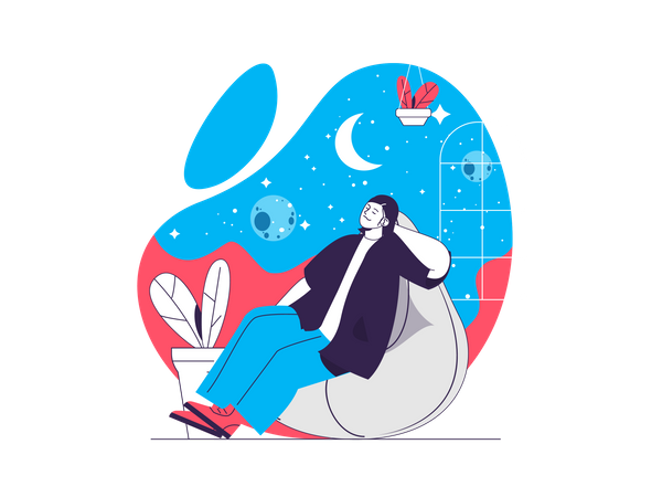 Woman thinks about space and galactic travel Illustration