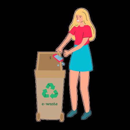 Woman throwing broken phone in e-waste recycling bin Illustration