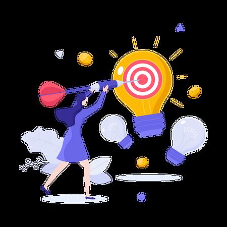 Woman throwing dart in target or dartboard on glowing light bulb Illustration
